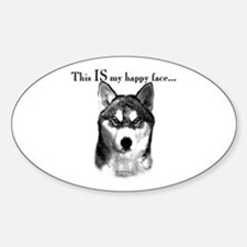 Husky Happy Face Oval Decal