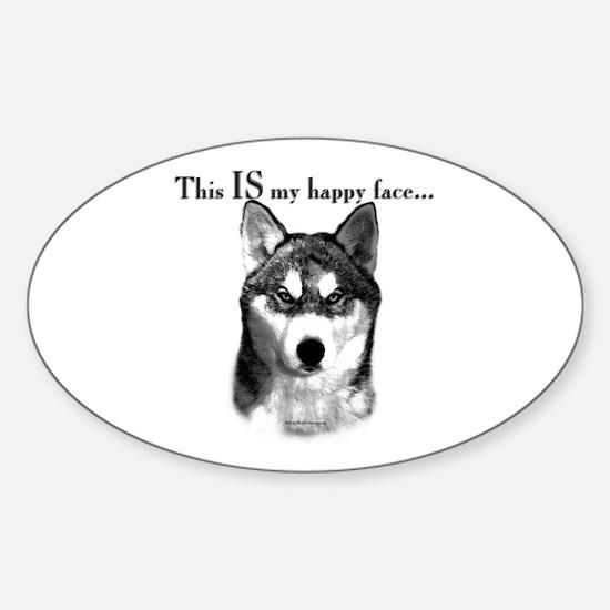 Husky Happy Face Oval Decal