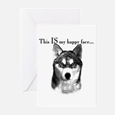 Husky Happy Face Greeting Cards (Pk of 10)