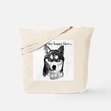 Husky Happy Face Tote Bag