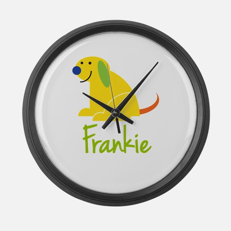 Frankie Loves Puppies Large Wall Clock