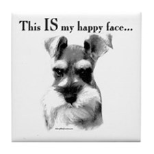 Std. Schnauzer Happy Face Tile Coaster