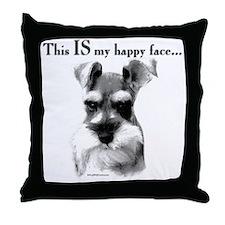 Std. Schnauzer Happy Face Throw Pillow