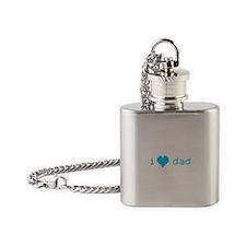i heart dad (blue) Flask Necklace