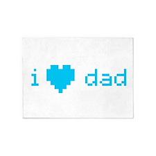 i heart dad (blue) 5'x7'Area Rug