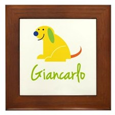 Giancarlo Loves Puppies Framed Tile
