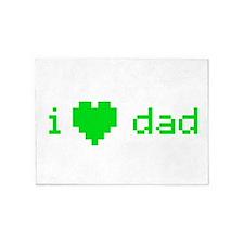 i heart dad (green) 5'x7'Area Rug
