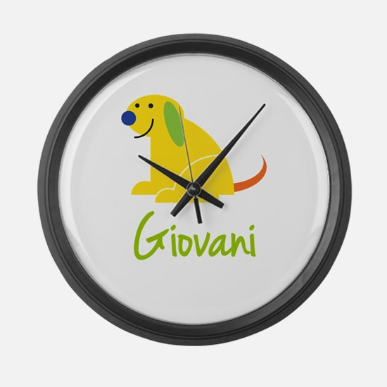Giovani Loves Puppies Large Wall Clock