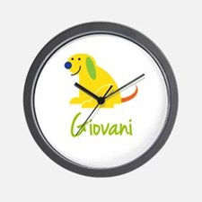 Giovani Loves Puppies Wall Clock