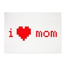 i heart mom (red) 5'x7'Area Rug