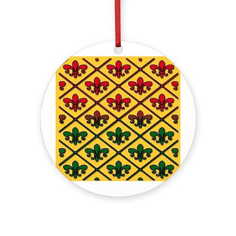Fleur de Lis Pattern Holiday Ornament (Round)
