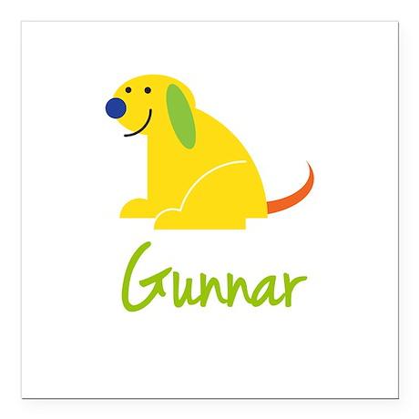 """Gunnar Loves Puppies Square Car Magnet 3"""" x 3"""""""