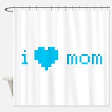 i heart mom (blue) Shower Curtain