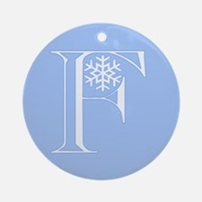 Snowflake Initial F Ornament (Round)