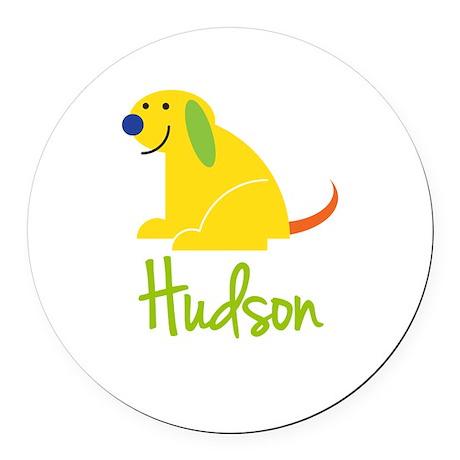 Hudson Loves Puppies Round Car Magnet