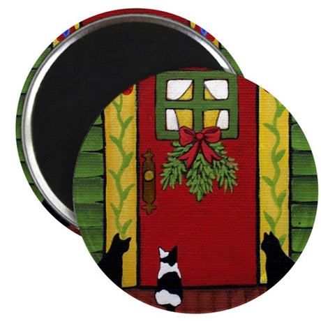 Black & White CATS Wait By Door Christmas Magnet