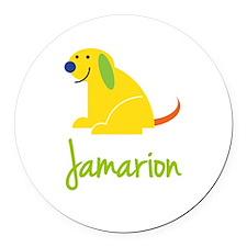 Jamarion Loves Puppies Round Car Magnet
