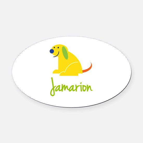 Jamarion Loves Puppies Oval Car Magnet
