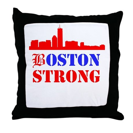 Blue Red Throw Pillow : Boston Strong Red and Blue Throw Pillow by BeantownDesigns