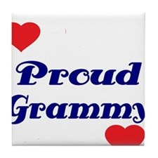 Proud Grammy with hearts Tile Coaster