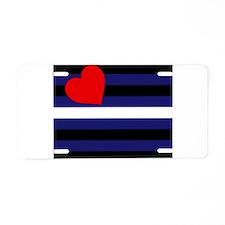 LEATHER FLAG Aluminum License Plate