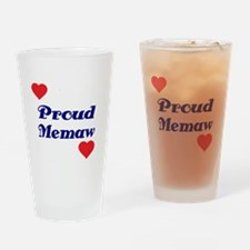 Proud Memaw with hearts Drinking Glass