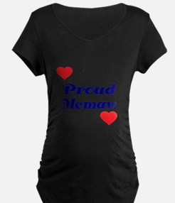 Proud Memaw with hearts Maternity T-Shirt