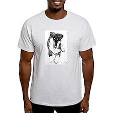 Tri Collie Pup Ash Grey T-Shirt