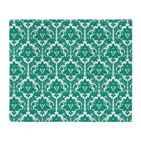 Emerald green damask throw blanket by zandiepantshomedecor - Emerald green throw blanket ...