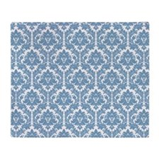 Dusk Blue Damask Throw Blanket