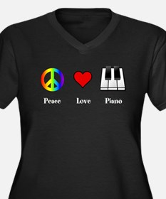 Peace Love Piano - music lovers T-Shirt Plus Size