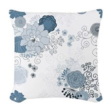 Blue Whimsical Floral Woven Throw Pillow