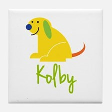 Kolby Loves Puppies Tile Coaster