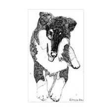 Tri Collie Pup Rectangle Decal