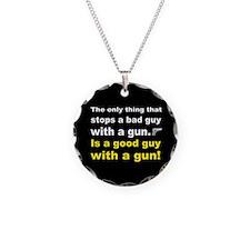 Good Guy with a gun dark button Necklace