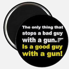 Good Guy with a gun dark button Magnet