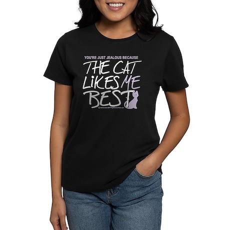 The Cat Likes Me Best Women's Dark T-Shirt