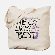 The Cat Likes Me Best Tote Bag
