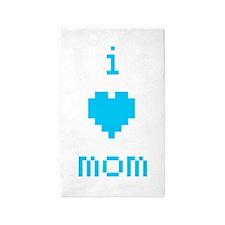 i heart mom (blue) 3'x5' Area Rug