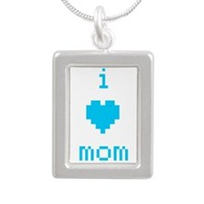 i heart mom (blue) Silver Portrait Necklace