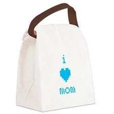 i heart mom (blue) Canvas Lunch Bag