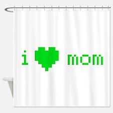 i heart mom (green) Shower Curtain