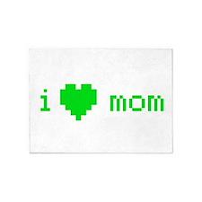 i heart mom (green) 5'x7'Area Rug