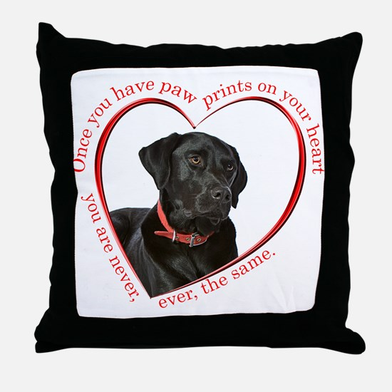 Lab Paw Prints Throw Pillow