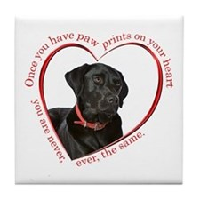 Lab Paw Prints Tile Coaster