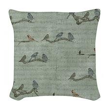 Birds on Branches Woven Throw Pillow