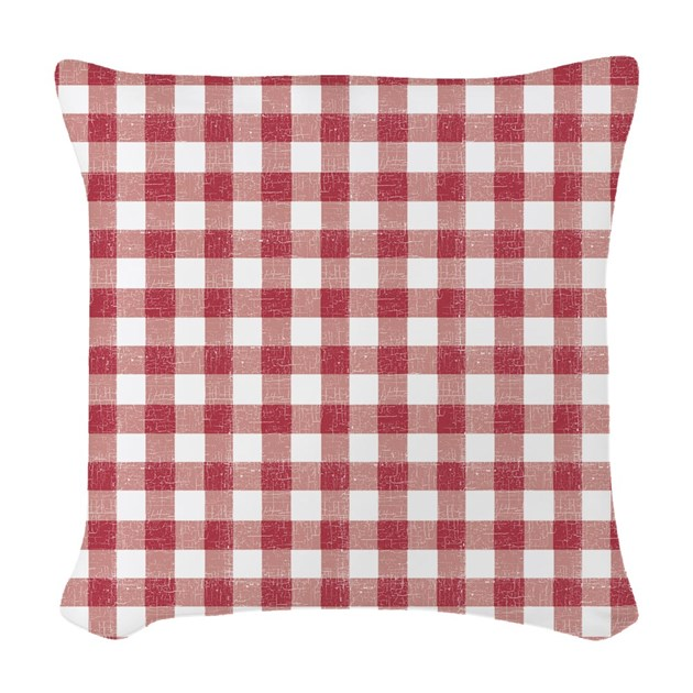 Red Plaid Throw Pillows : Red Plaid Tablecloth Woven Throw Pillow by be_inspired_by_life