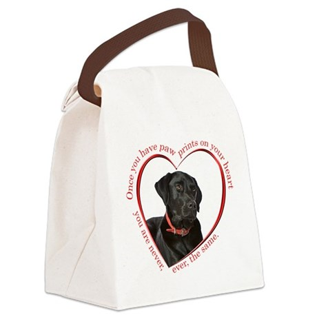 Lab Paw Prints Canvas Lunch Bag