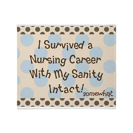 i survived nursing brown blue polka dots Throw Bla
