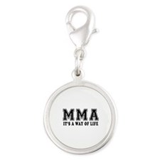 Mixed martial arts Is Life Silver Round Charm